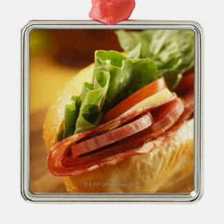 An Italian sub sandwich with Metal Ornament