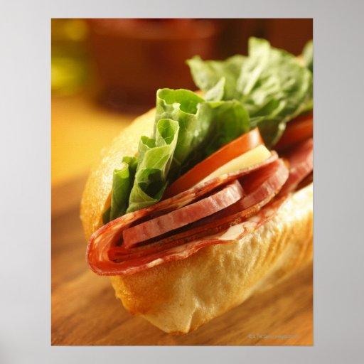 An Italian sub sandwich with Print