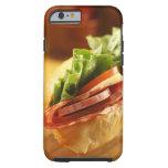 An Italian sub sandwich with Tough iPhone 6 Case