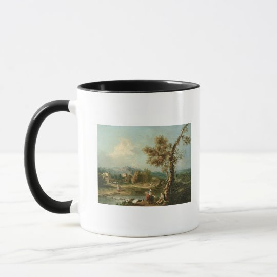 An Italianate River Landscape with Travellers Mug