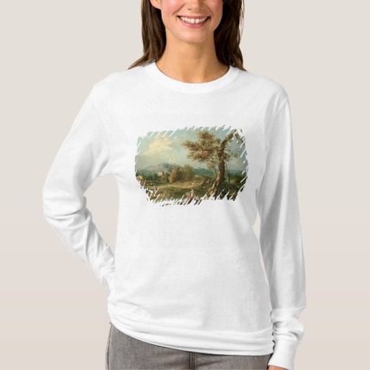 An Italianate River Landscape with Travellers T-Shirt