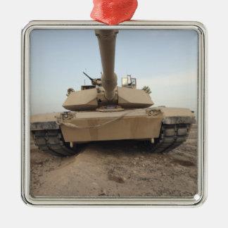 An M-1A1 Main Battle Tank Square Metal Christmas Ornament
