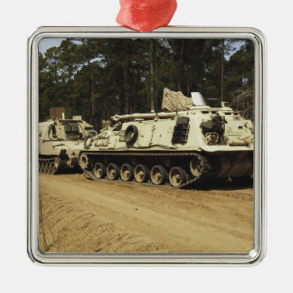 An M-88 recovery vehicle begins to tow an M992 Square Metal Christmas Ornament