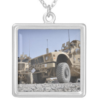 An M-ATV Mine Resistant Ambush Protected vehicl Silver Plated Necklace