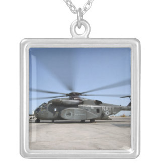 An MH-53E Sea Dragon helicopter Silver Plated Necklace