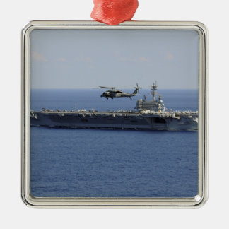 An MH-60S Seahawk helicopter Square Metal Christmas Ornament