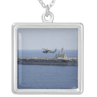 An MH-60S Seahawk helicopter Square Pendant Necklace