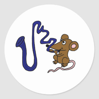 AN- Mouse Playing SaxophoneC artoon Classic Round Sticker