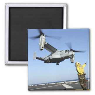 An MV-22 Osprey launches from the USS Nassau 2 Inch Square Magnet