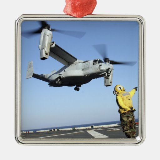 An MV-22 Osprey launches from the USS Nassau Square Metal Christmas Ornament