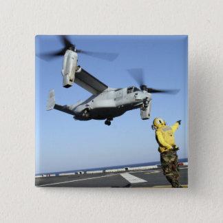 An MV-22 Osprey launches from the USS Nassau Pinback Button