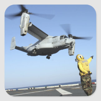 An MV-22 Osprey launches from the USS Nassau Square Stickers