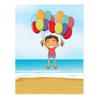 an ocean and a boy postcard