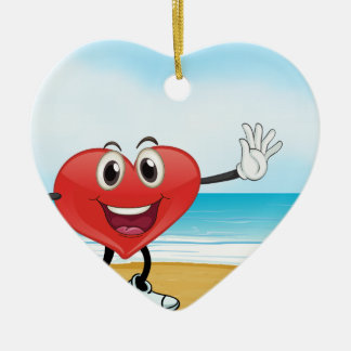 an ocean and a heart ceramic ornament