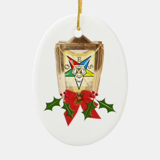 An OES Holiday Lantern Double-Sided Oval Ceramic Christmas Ornament