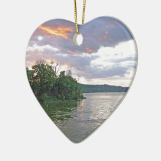 An Ohio River Valley Sunrise Ceramic Ornament