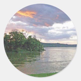 An Ohio River Valley Sunrise Classic Round Sticker
