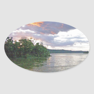 An Ohio River Valley Sunrise Oval Sticker