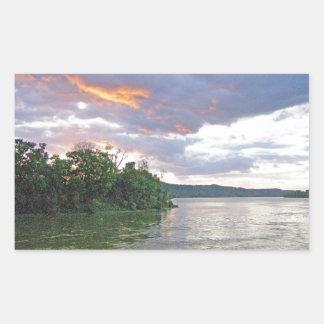 An Ohio River Valley Sunrise Rectangular Sticker