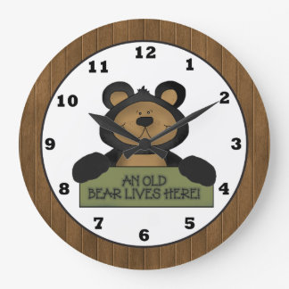 An Old Bear Lives Here wall clock country