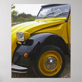 An old black and yellow Citroen 2CV 2 CV, Poster