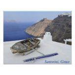 An old boat on the roof of a house in Santorini Posters