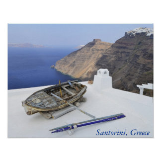 An old boat on the roof of a house in Santorini Poster