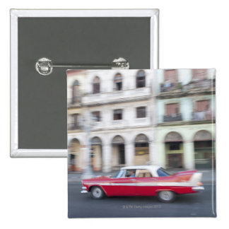 An old car cruising the streets of Havana, Cuba. 2 Inch Square Button