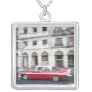 An old car cruising the streets of Havana, Cuba. Square Pendant Necklace