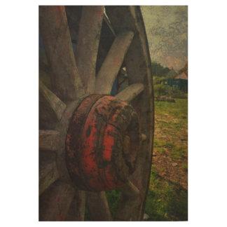 An Old Cart Wheel Wood Poster