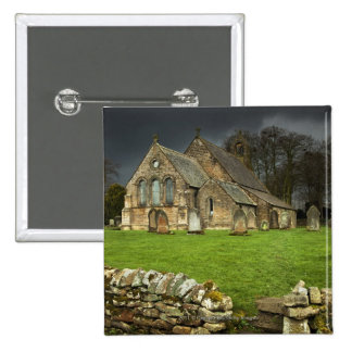 An Old Church Under A Dark Sky Pinback Button