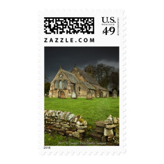 An Old Church Under A Dark Sky Postage Stamps