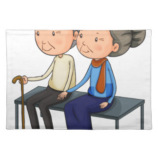 An old couple dating cloth placemat