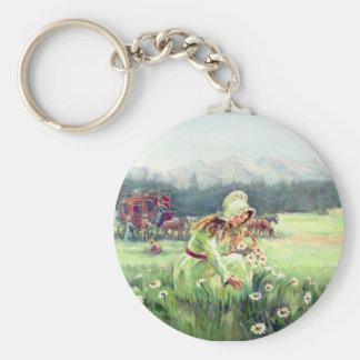 AN OLD FASHIONED GIRL by SHARON SHARPE Basic Round Button Keychain