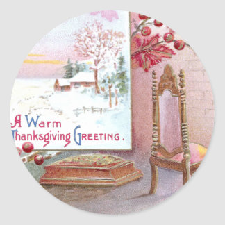 An Old Fashioned Thanksgiving Classic Round Sticker