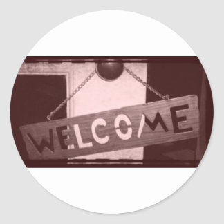 An Old Fashioned Welcome Round Stickers