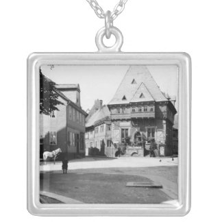 An old Hotel in the Town Square, Goslar, c.1910 Silver Plated Necklace