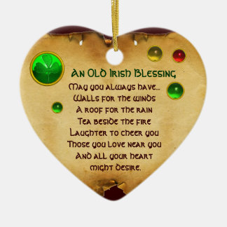 An Old Irish Blessing for Luck Heart Parchment Ceramic Ornament