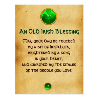 An Old Irish Blessing For Luck Parchment Postcard