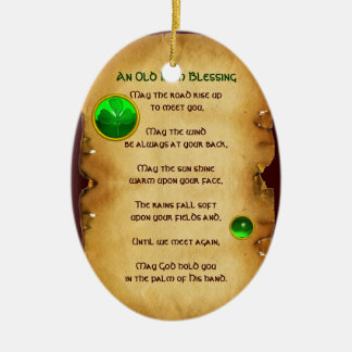 An Old Irish Blessing Parchment Ceramic Ornament