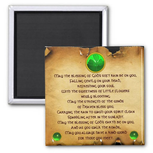 An Old Irish Blessing Parchment for Luck 2 Inch Square Magnet