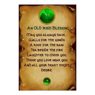 An Old Irish Blessing Parchment for Luck Poster