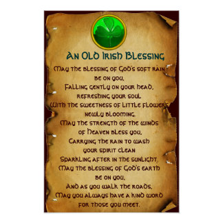 An Old Irish Blessing Parchment for Luck Posters