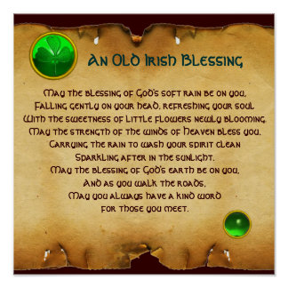 An Old Irish Blessing Parchment for Luck , Square Posters