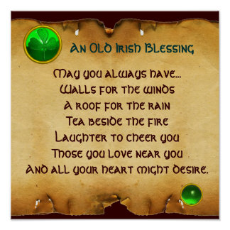 An Old Irish Blessing Parchment for Luck , Square Poster