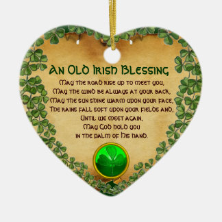 An Old Irish Blessing Parchment,Heart Ceramic Ornament