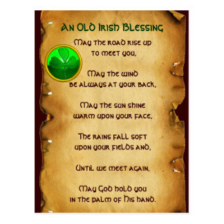 An Old Irish Blessing Parchment Postcard