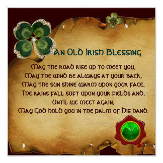 An Old Irish Blessing Parchment, Square Poster