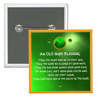 An Old Irish Blessing Shamrock Button