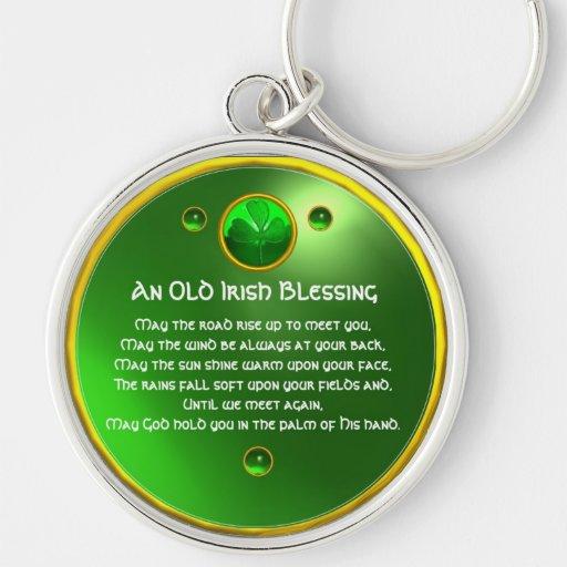 An Old Irish Blessing Shamrock Key Chain
